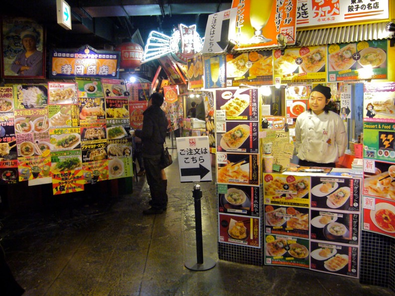 Designed to look like an old street, you can wander from dumpling stand to dumpling stand at Gyoza Stadium, ordering savory bites from all over Japan.