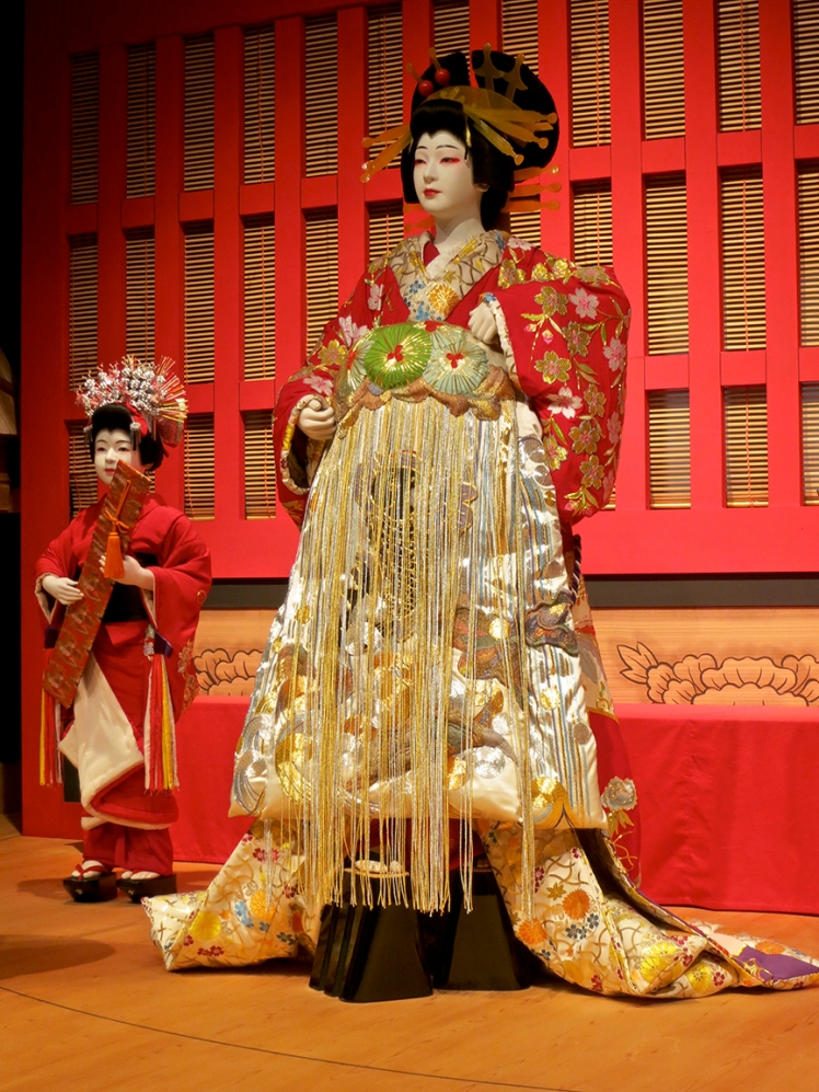 This is one of the fantastic costumes worn by the male kabuki actors who play women's roles.
