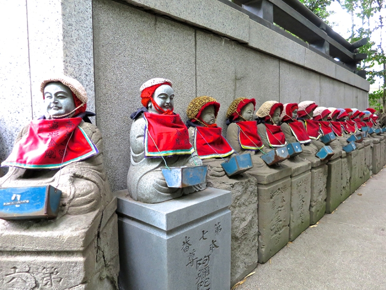Between the train station and the main temple is a courtyard with strangely compelling Jizo figures. Unlike most Jizo statues, each one of these has a different face and expression. I believe they represent real people – perhaps the temple's abbots – but haven't yet been able to find out who they are.
