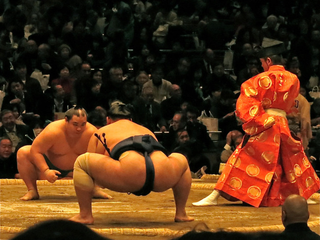 If you're not in Tokyo at tournament time, you can still see wrestlers going about their daily business in Ryogoku. They often take the train, and you can spot them easily by their size and the fact that they never wear western clothes.