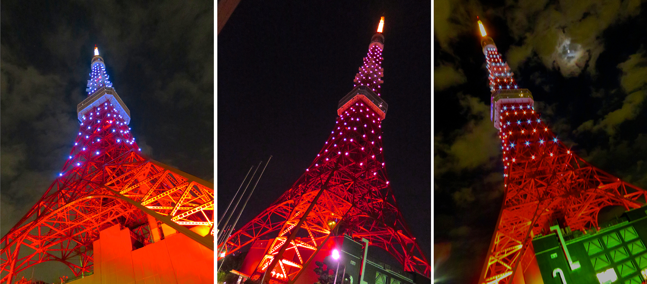 Every weekend and on special days, Tokyo Tower is lit up in different colors from 8-10 at night. Schedule for the current month here: http://www.tokyotower.co.jp/lightup/