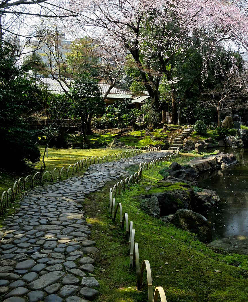The garden has a wonderful koi pond, and is especially nice during cherry blossom season.