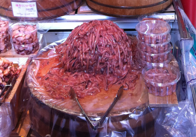 Insects aren't the only squicky thing for sale at the street market – these traditional snacks made from squid guts are also sold by the pound.