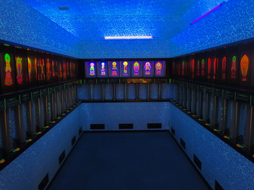 Now let's detour upstairs and see the room with the glow-in-the-dark gods.