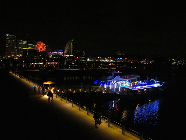 With Yokohama's huge ferris wheel in the background, even the sightseeing boats are lit up in neon for the event.