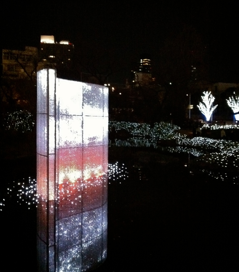 A animated light sculpture reflects in the Mori Garden pond