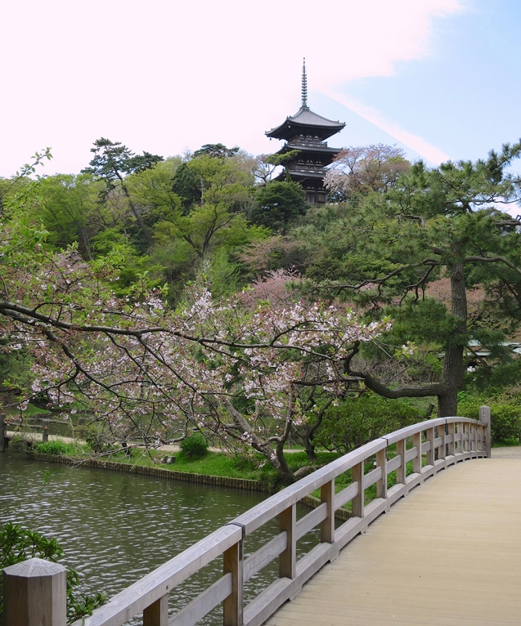 The venerable garden of Sankei-en was built around a collection of historical buildings that were lovingly moved to the site, including this 1457 pagoda.