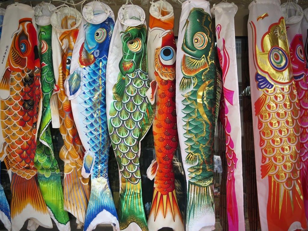 Koi nobori fish flags for sale in Kawagoe