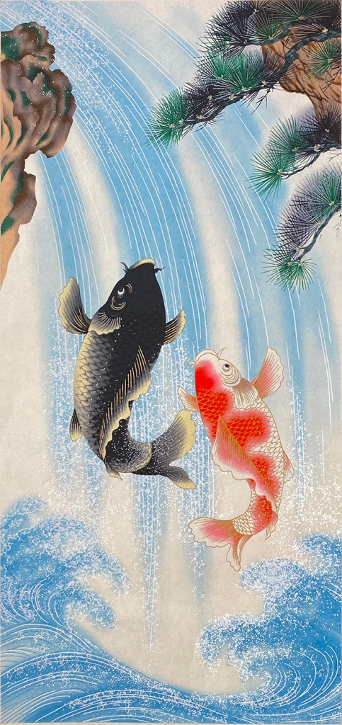 Japanese print of two carp climbing a waterfall