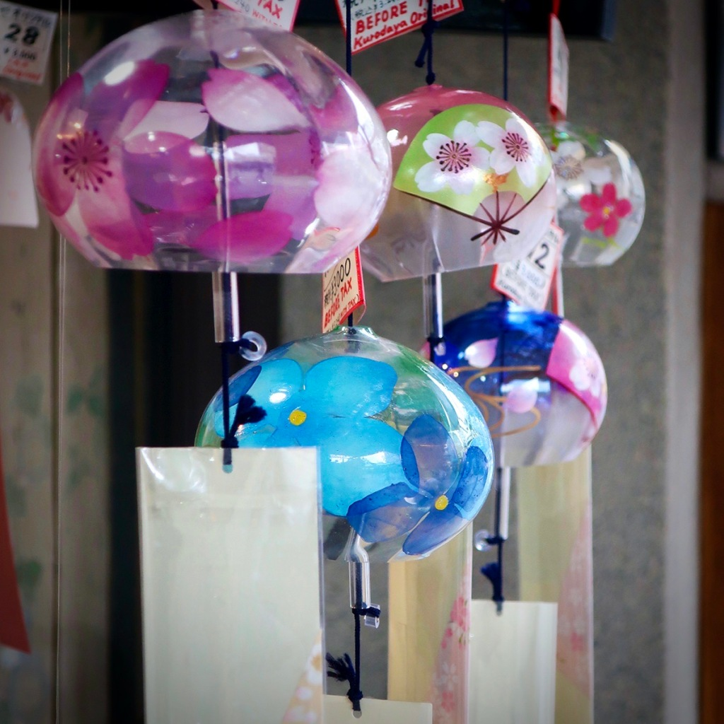 Japanese furin wind chimes for sale outside a shop