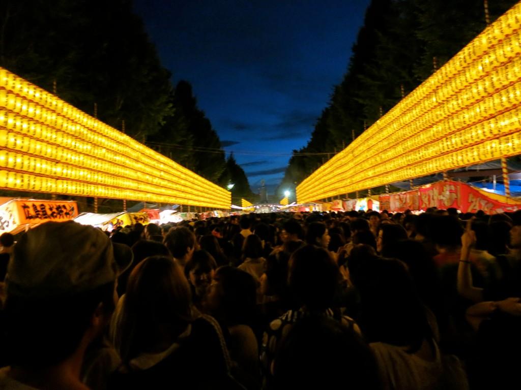 Lanterns illuminating main promenade of the Yasukuni Shrine at the Mitama Matsuri