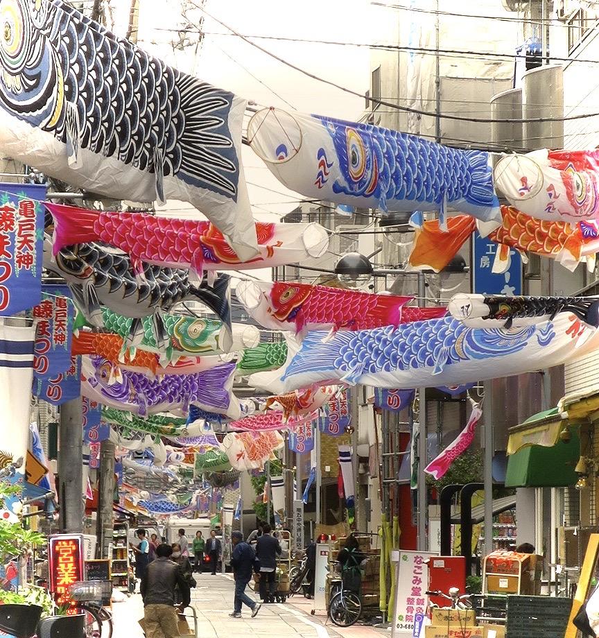 Koi nobori fish flags on Kameido shopping street