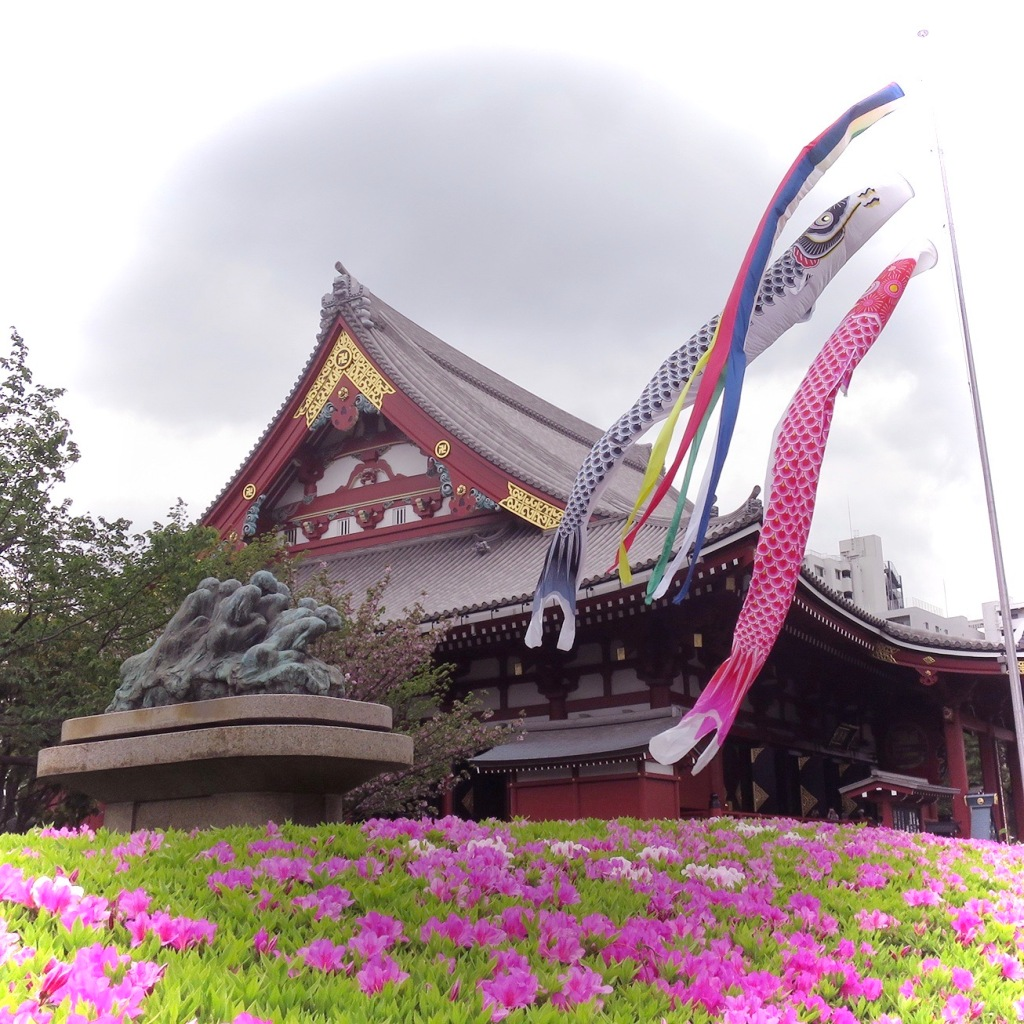 Koi nobori fish flags flying at Senko-ji temple in Asakusa