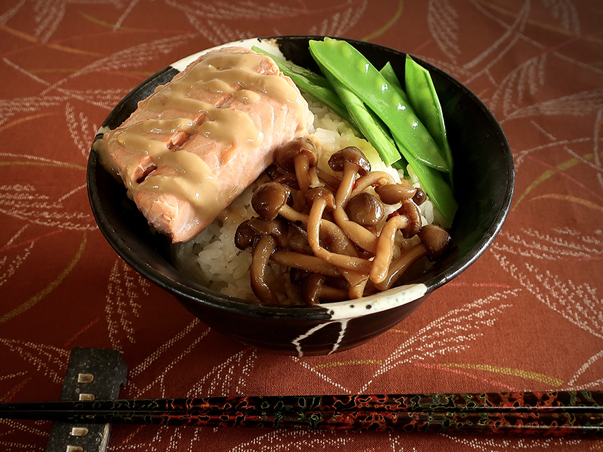 Japanese rice bowl with miso salmon