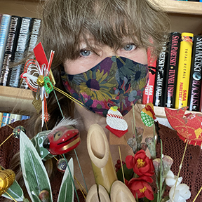 Author Jonelle Patrick in mask